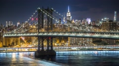 New York Manhattan bridge at night Illumination Timelapse - stock footage