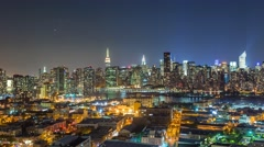 New York Manhattan at night View from Queens  Timelapse - stock footage
