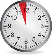 Clock with red 3 minute deadline - stock illustration