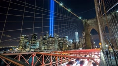 New York Manhattan Lazer Twin Towers from bridge Timelapse Stock Footage