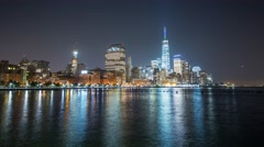 New York Manhattan quay Waterfront view Timelapse - stock footage