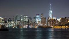 New York Manhattan bridge from quay Night Timelapse Stock Footage