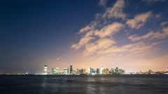 New York Manhattan quay View from New Jersey Night timelapse Timelapse - stock footage