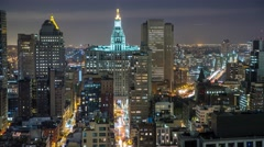 New York Manhattan at night Rooftop view Traffic Skyscrapes Timelapse Stock Footage