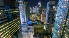 New York Manhattan skyscrapers at night Vertical moving Timelapse Stock Footage