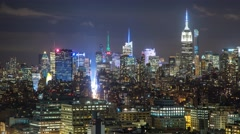 New York Manhattan rooftops Skuscrapers at night Timelapse - stock footage