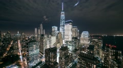New York Midtown Manhattan rooptops night Timelapse Stock Footage