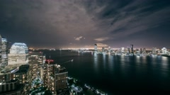 New York Manhattan shoreline at night Ferry moving Timelapse Stock Footage