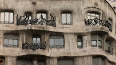 Casa Mila, Gaudi House in Barcelona Stock Footage