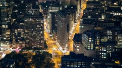 New York Manhattan The Flatiron district Rooftop view night Timelapse Stock Footage