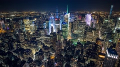 New York Manhattan Empire State zoom Night rooftop view Timelapse Stock Footage