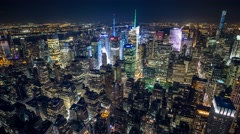 New York Manhattan night lights Skyscrapers Rooftop view Timelapse Stock Footage