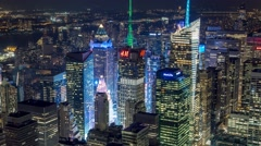 New York Manhattan Empire State building night Rooftop view Timelapse Stock Footage
