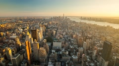 New York Manhattan Empire State building Rooftop Sunset Timelapse Stock Footage