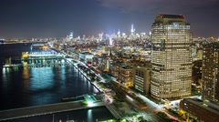 New York Night Manhattan Night quay Rooftop view Timelapse - stock footage