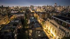 New York Manhattan rooftops Night Timelapse Stock Footage