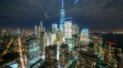 New York Manhattan skyscrapers at night Timelapse Rooftops Stock Footage