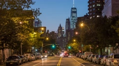 New York Manhattan street traffic at night Timelapse - stock footage
