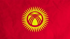 Kyrgyz flag waving in the wind (full frame footage) Stock Footage