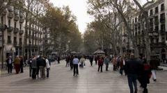 People on Las Ramblas Barcelona Stock Footage