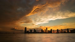 New York Amazing sunset with view on Manhattan island Timelapse Stock Footage