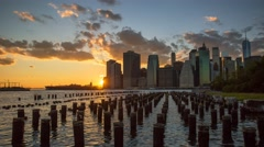 New York Manhattan island at sunset Clouds Timelapse - stock footage