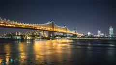 New York Queens borough bridge Night timelapse Stock Footage