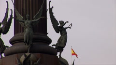 Colon Monument and Spanish Flag Stock Footage