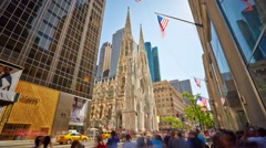 New York St. Patricks Cathedral Timelapse Street traffic - stock footage