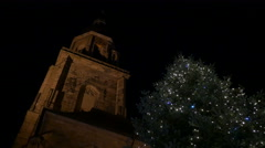 Night view of Heiliggeistkirche's tower on Christmas in Heidelberg Stock Footage