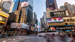 New York Times Square Motion timelapse People and cars Many billboards Stock Footage