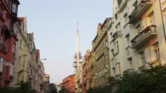 Zizkov Tower Building Facade Forward - 4k Stock Footage