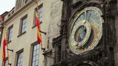 A medieval astronomical clock located in Prague, Old Town Square. Stock Footage