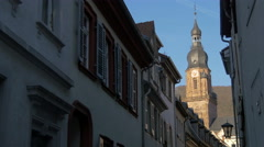 Beautiful view of the bell tower of Church of Holy Spirit in Heidelberg - stock footage