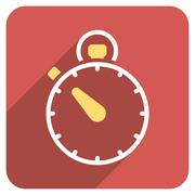 Stock Illustration of Stopwatch Flat Rounded Square Icon with Long Shadow