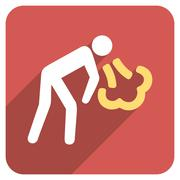 Vomiting Person Flat Rounded Square Icon with Long Shadow Piirros