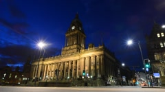 Time lapse leeds town hall at twilight yorkshire united kingdom Stock Footage