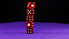 Dice Red Rotate on the Table Stock Footage