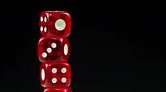 Dice Red Rotate on a Black Background Stock Footage