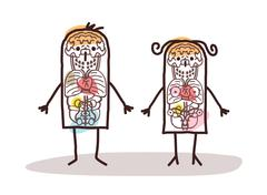 cartoon couple anatomy - stock illustration
