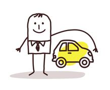 businessman and car insurance - stock illustration