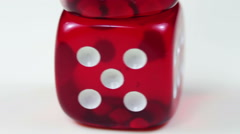 Dice Red Rotating on a White Background - stock footage