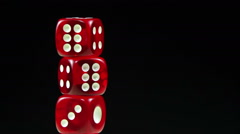 Dice Red Rotate on a Black Background - stock footage