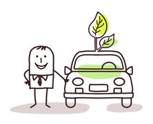 man with green car - stock illustration