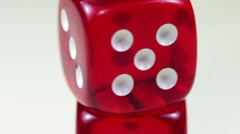 Dice Red Rotating on a White Background Stock Footage