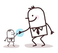 cartoon big businessman giving a hand to a small one - stock illustration
