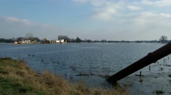 High water level in the floodplains + dredge pipe, river IJssel Stock Footage