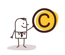 Man Holding a Copyright Symbol - stock illustration