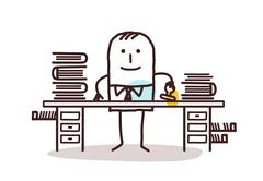 cartoon employee man working at his desk - stock illustration