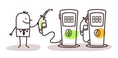 Man choosing green fuel Stock Illustration